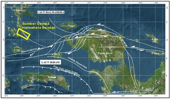 Gambar 2. Sebagian zona sesar Sorong yang berada di lingkungan kepala burung pulau Irian dan sekitarnya. Nampak sesar Sorong memiliki sejumlah cabang. Salah satu cabangnya yang melintas di pulau halmahera bagian selatan merupakan sumber Gempa Halmahera Selatan 14 Juli 2019 (magnitudo 7,3). Sumber: Permana & Gaol, 2018.