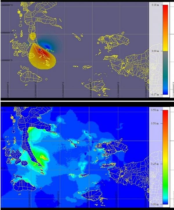 Gambar 4. Simulasi Widjo Kongko terkait pembangkita tsunami kecil dalam gempa Halmahera Selatan 14 Juli 2019. Atas: perkiraan bentuk sumber tsunami, dengan warna biru menunjukkan bagian dasar laut yang mengalami penurunan. Bawah : perkiraan tinggi tsunami dengan tinggi maksimum di pesisir pulau Widi sebesar sekitar 50 sentimeter. Sumber : Widjo Kongko, 2019.