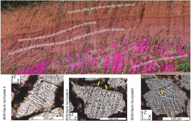 Gambar 6. Singkapan produk batu bertabrakan dengan benda langit membentuk Kawah Bolaven dan Australasia tektit pada tebing yang dipotong dalam konstruksi jalan raya. Lapisan batuan muncul di tebing (atas) dan pola pola deformasi datar / PDF (fitur deformasi planar) dalam kristal kuarsa dalam batuan ketika diamati dengan mikroskop polarisasi. Sumber: Sieh et al., 2019.