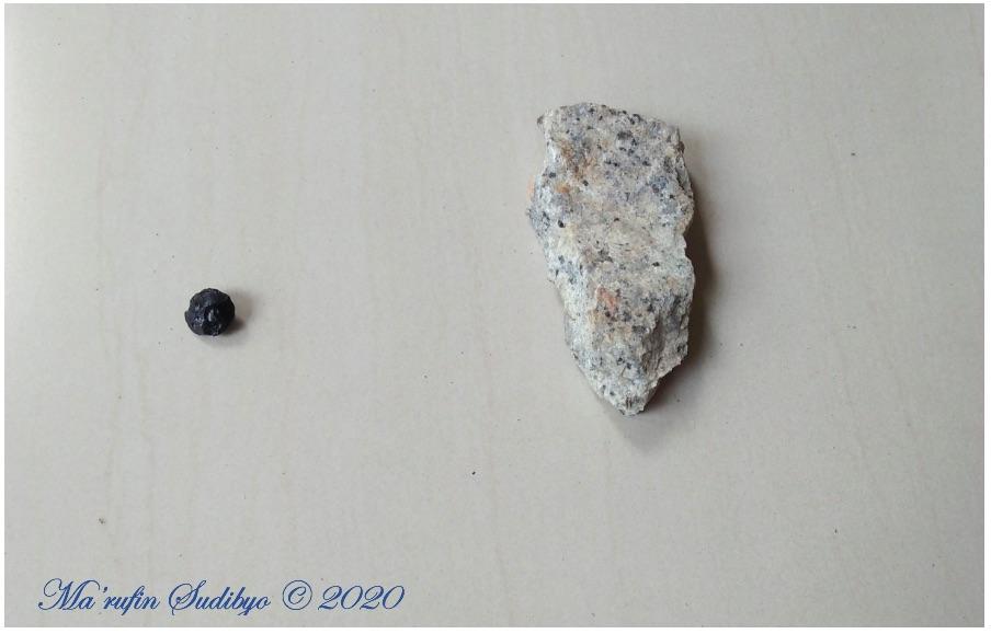 Gambar 3. Sampel Batu Satam (kiri) dan Granit Belitung (kanan). Dua komponen tulangpunggung taman bumi (Geopark) Belitung. Sumber: Sudibyo/koleksi pribadi, 2019.