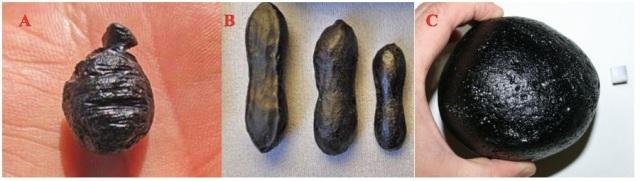 Gambar 3. Tiga jenis tektit yang merupakan bagian dari kelompok tektit Australasia. Sebuah. Agni Mani atau Javanit, yang ditemukan di pulau Jawa. b. Sebanyak tiga orang Australia berbentuk halter, ditemukan di Australia. Dan C. Filipina, yang ditemukan di Filipina. Semua terbentuk dari sumber yang sama dalam 790.000 tahun yang lalu. Sumber: MeteoriteTimes.Com/Lehrman, 2012 & Tektites.co.uk/Aubrey, 2011.